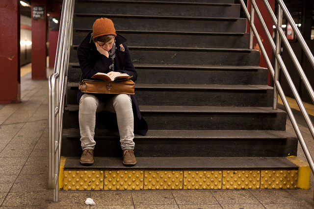Reading on the Stairs By Jens Schott Knudsen