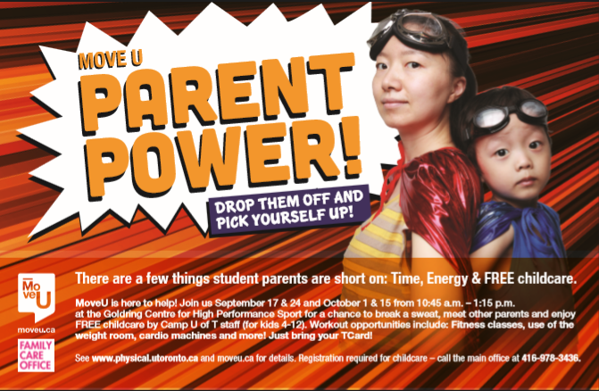 Parent Power poster depicting mother and child in generic superhero outfits.
