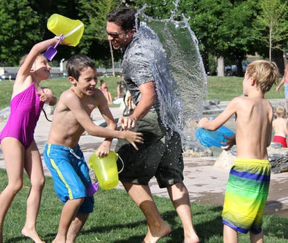 Children playing/water flight