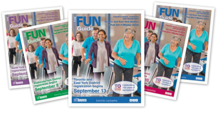The magazine covers for the 4 different fun guides: Toronto/East York, Etobicoke, North York, Scarborough