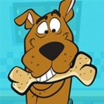 Scooby Doo holding a bone in his mouth.