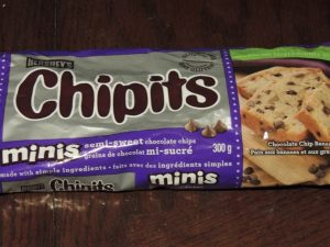 Chipits chocolates sitting on a counter.