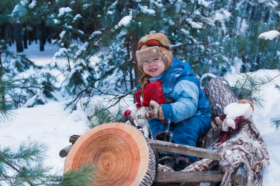 Small toddler with brown hat and blue snowsuit sitting on logs in the snow. Green trees are behind him
