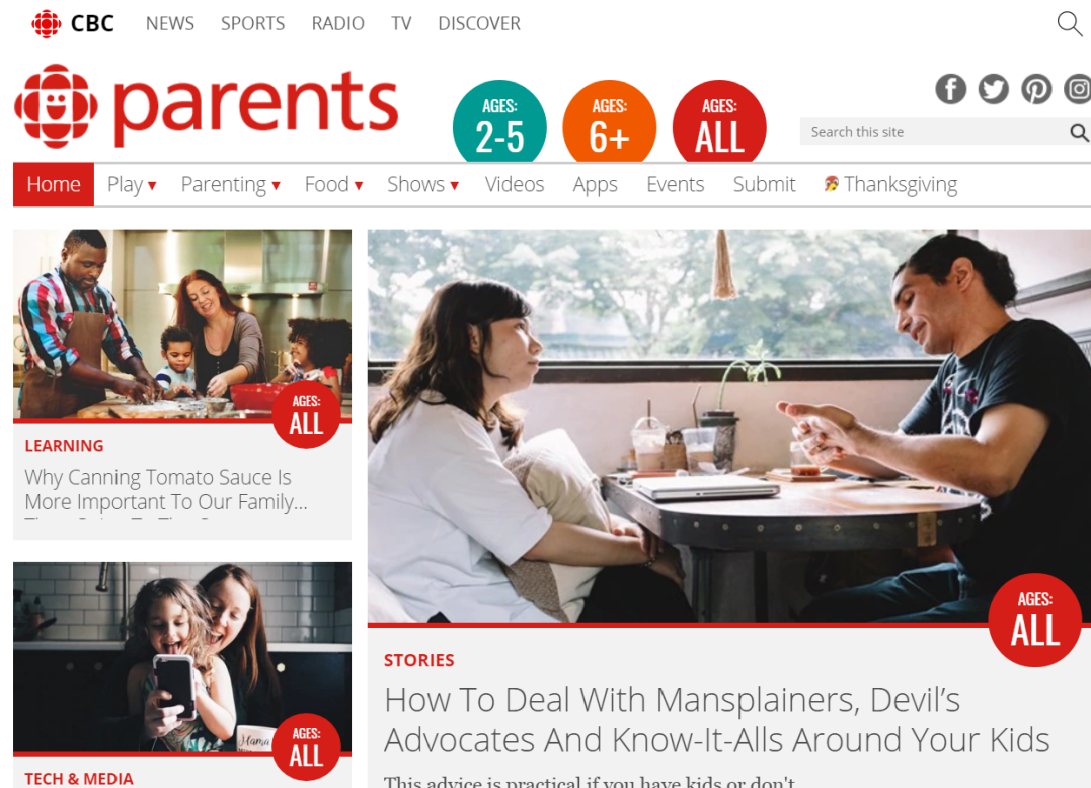 A screenshot of the homepage of the CBC Parents website.