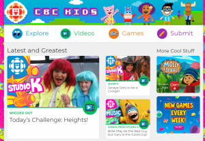A screenshot of the home page of CBC Kids. A bright, blue background with small articles and videos featured on the page.