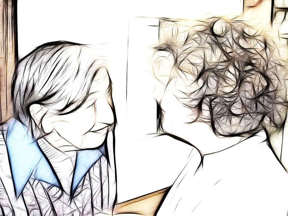 Coloured sketch of elderly person with young caregiver.