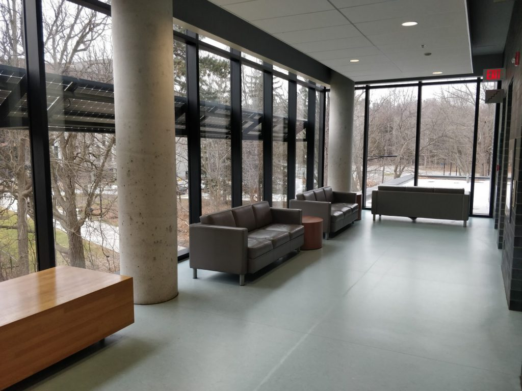 Photo of couches and windows in breastfeeding area at the Instructional Center at University of Toronto Mississauga