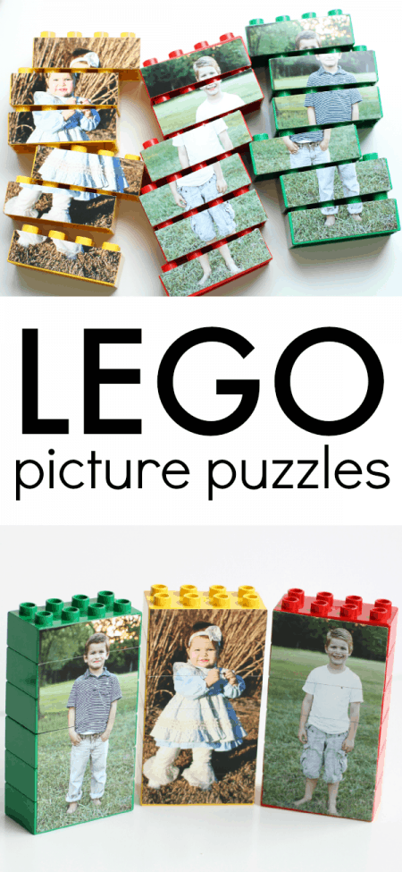 Lego pieces with pictures pasted on it