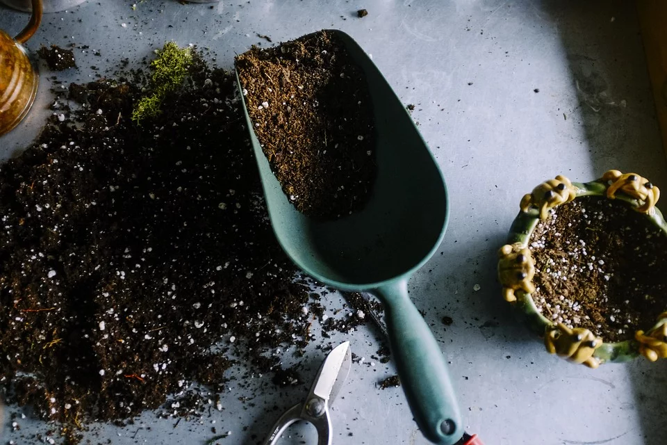 Gardening shovel with soil in it