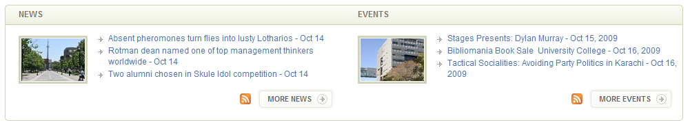 The U of T website presents live feeds with updated information about everything U of T!