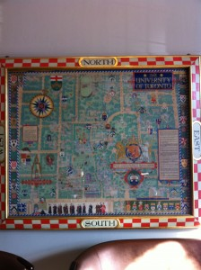 Hey! Where's the western part of campus??? Old Map at Hart House. Photo taken with permission from the Hart House communications department.