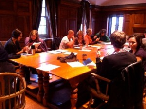"A writing workshop that took place at Hart House called ""A Writer's Process."""