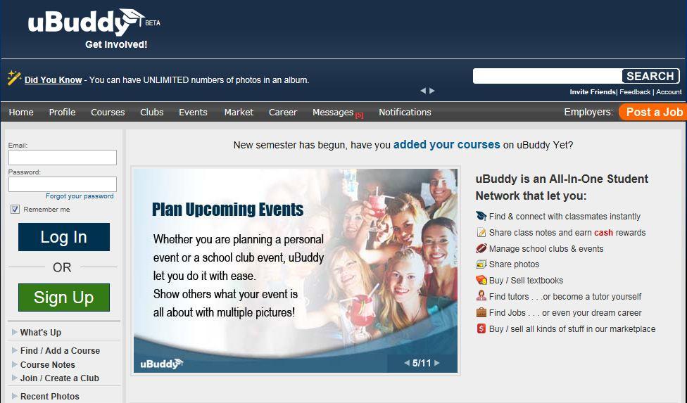 UBuddy's new more user-friendly Homepage