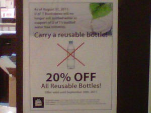 Disposable Water Bottle Ban Sign in the U of T Bookstore