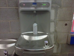 One of the newer fountains on campus. This one has a built-in bottle refilling station! It's located inside the Athletic Centre just past the turnstiles.