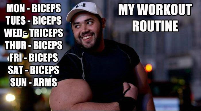 Everyday is arm day (that's common knowledge now) http://musclemaximizerpromo.com/the-great-bodybuilding-routine/funny-bodybuilding-memesgym-memes-the-worlds-funniest-gym-meme-photos-thegymlifestyle-dtkbsk/