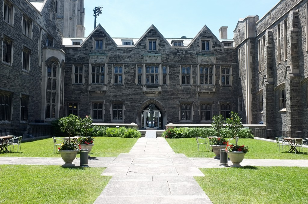 If you get lucky and don't find Hart House quad otherwise occupied by a wedding party (I don't blame the wedding parties, I mean look at it) the tables are a great place to sit and read or just chill.