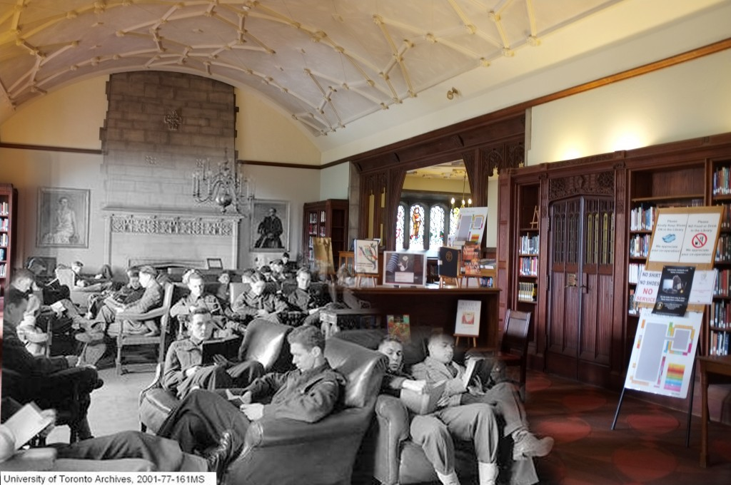 Students in Military Uniform in the Hart House Library c.1943. Source