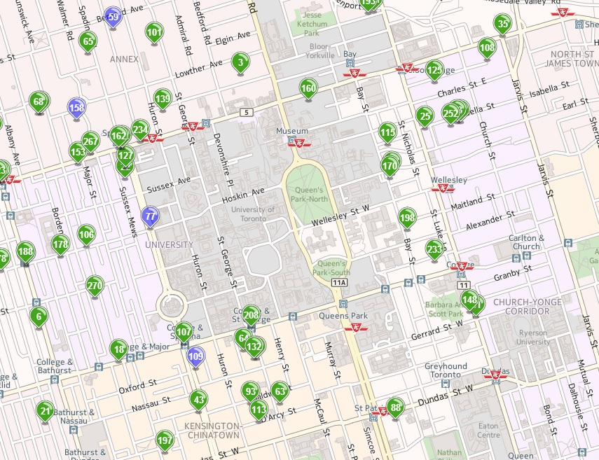 Some results from the Housing Finder. Look at how many apartments there are near campus! (via housing.utoronto.ca)
