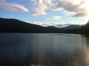Picture taken from a dock, looking out over a lake amidst the forested mountains of Alberta's Rockies