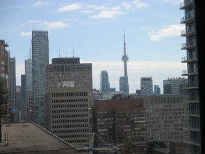 Toronto's impressive skyline on a bright clear day, from 18 floors up in a tower