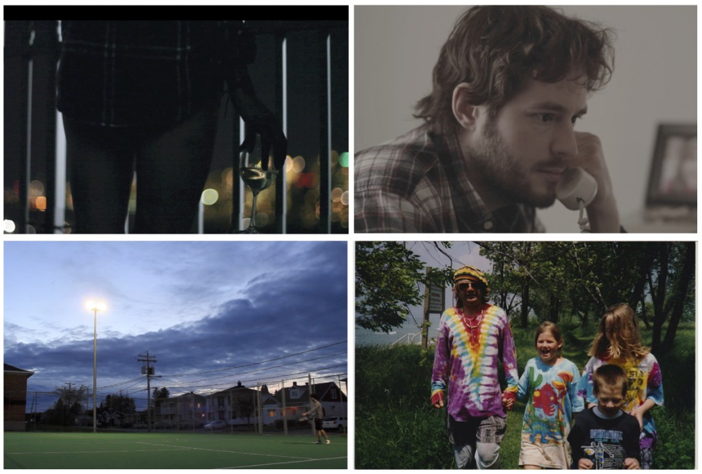 Four individual images collaged together showcasing four of the movies shown. From top left to bottom right there is a picture of a young girl standing on a balcony at night with a wineglass in her hand, the skyline of Toronto is visible in the background. Next is a picture of a middle aged man with brown hair speaking onto a cell phone looking concerned. Next there is a picture of a tennis court at dusk in a suburban setting with a young man off to the far right holding a tennis racket. Finally there is a picture of a family, all wearing tie-dye, holding hands and walking outside in a wooded area.