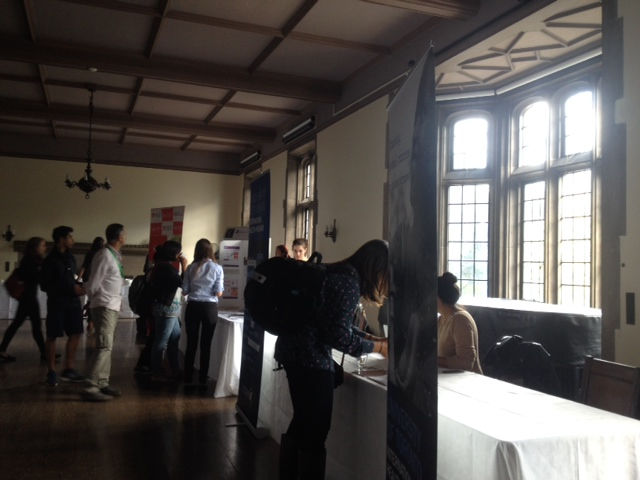 photo of tables set up in Hart House East Common Room for Global Health Expo
