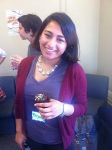 U of T student Priyanka with her cupcake creation.