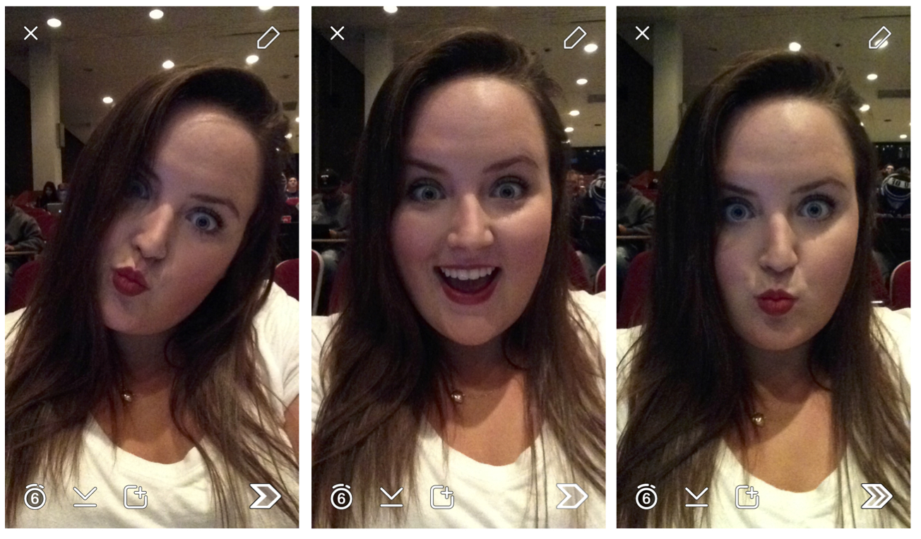 """3 """"selfie"""" style photos of female student sitting in a lecture hall"""