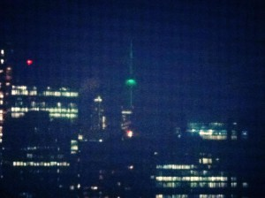 Another nighttime shot of the Tower from my apartment, this time lit up is bright green