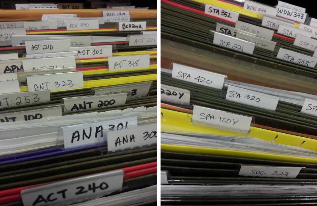 Photo of some of the files and past tests that ASSU has available.