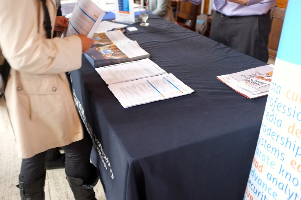 table with brochures on it