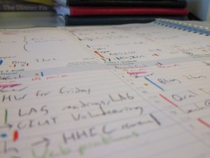 A close-up view of daily schedules with colour-coded action items and symbols that only I can understand