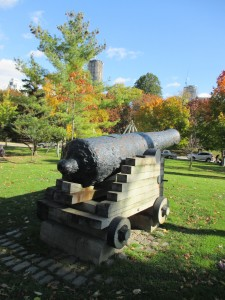 One of the great big cannons sitting next to the UTSU building
