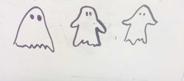 hand drawn pictures of 3 ghosts