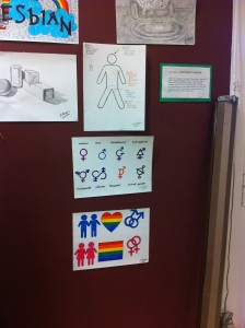 Some posters featuring the diversity of gender (agender, gender neutral, cisgendered, genderqueer, non-binary), and a poster explaining the difference between sex, gender, and sexuality.