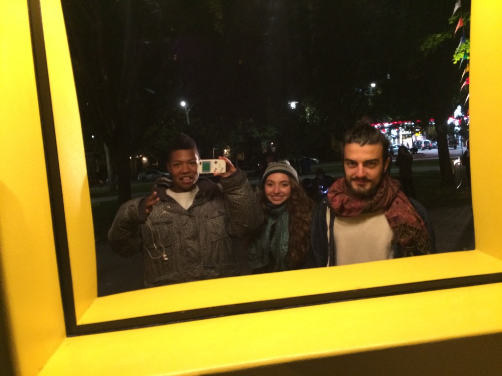 My friends and I taking a selfie at a mirror art installation.