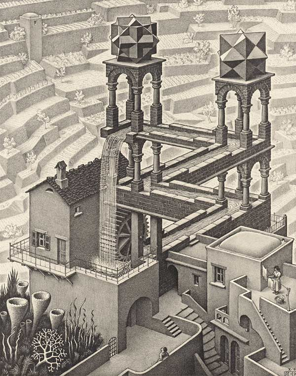 "Lithograph by MC Escher: ""Waterfall"". Depicts a waterfall that falls into itself into a loop."