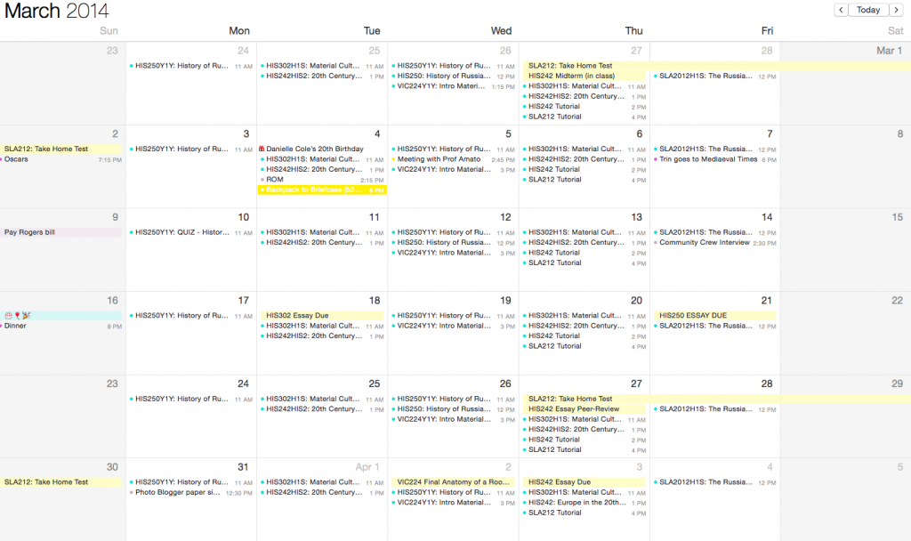 a screenshot showing the month view of a calendar app showing classes each day plus any due dates or important dates