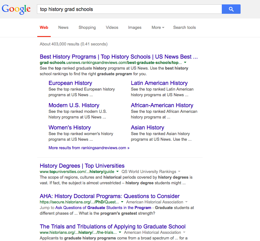 "google search ""best history grad schools""  results are pages with lists of best schools"