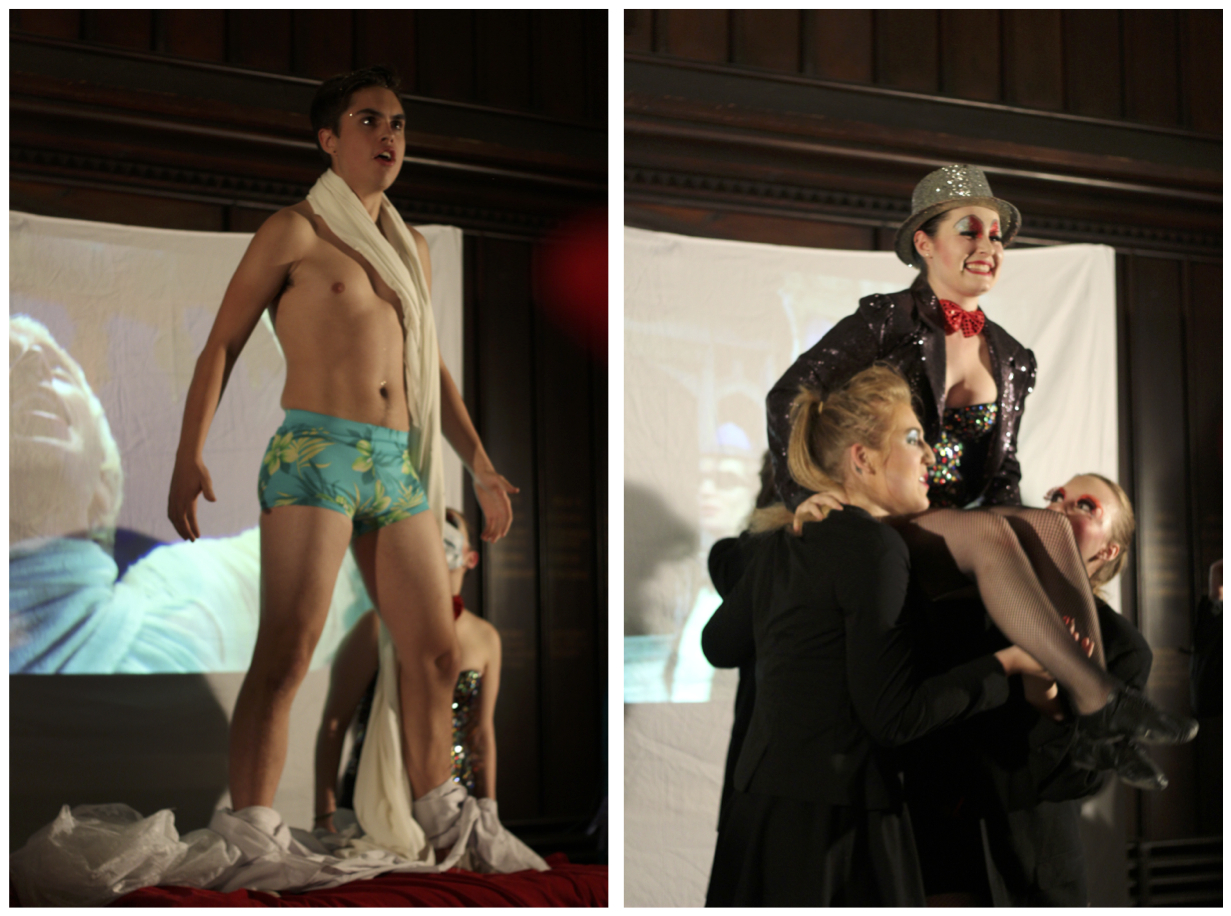 """Two Photo Set: Photo on the left is of a man standing on a table with a movie projector in the background. He is naked except for a small blue speedo and bandages across his chest. He has a crazy look in his eyes and has just been """"created"""" by the mad scientist. Photo on the Right: one of the party-goer characters being thrown into the air in the middle of a dance routine."""