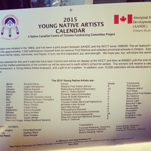 The inside cover of the 2015 Young Native Artist's Calendar, with all the names and communities of the winning artists and other contributors