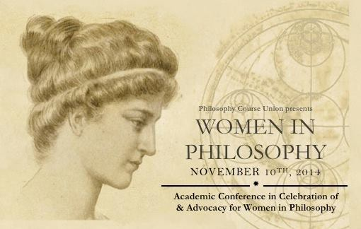 Photo of a poster for the aforementioned Women in Philosophy event. Features Hypatia of Alexandria, and a bunch of text.