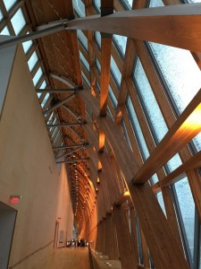 The ultra-modern, wavy wooden rafters in behind the AGO's crazy glass exterior