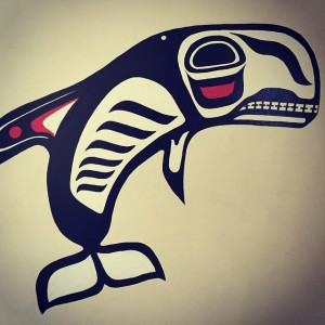 A great whale wall mural in western Indigenous art style