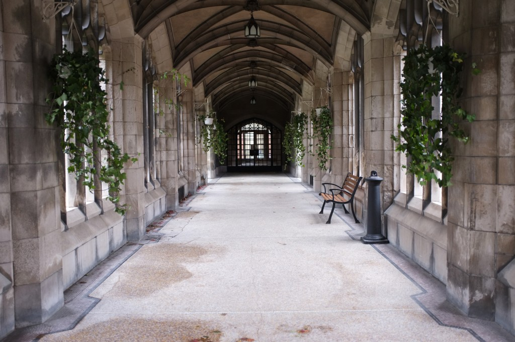 picture of the knox college cloisters. the shot is from the doors looking west and shows the empty arched cloister with a bench and some hanging planters.