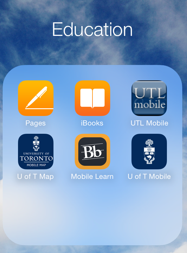 "iphone screenshot showing a folder labled ""education"" with pages, ibooks, ut libraries, U of T, blackboard, and U of T map apps in it"