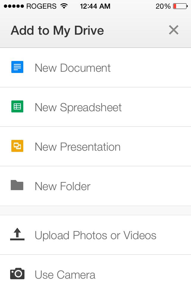 "Phone screenshot of Google Drive App ""add to my drive"" page."