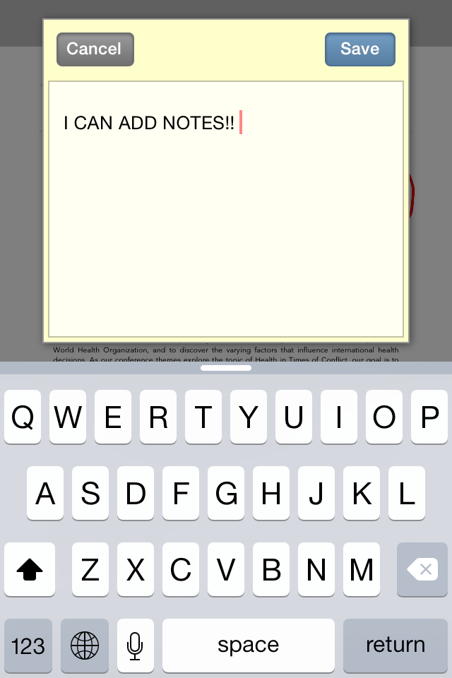 "Phone screenshot of Adobe Reader App ""add note"" function. Note reads ""I can add notes!"""