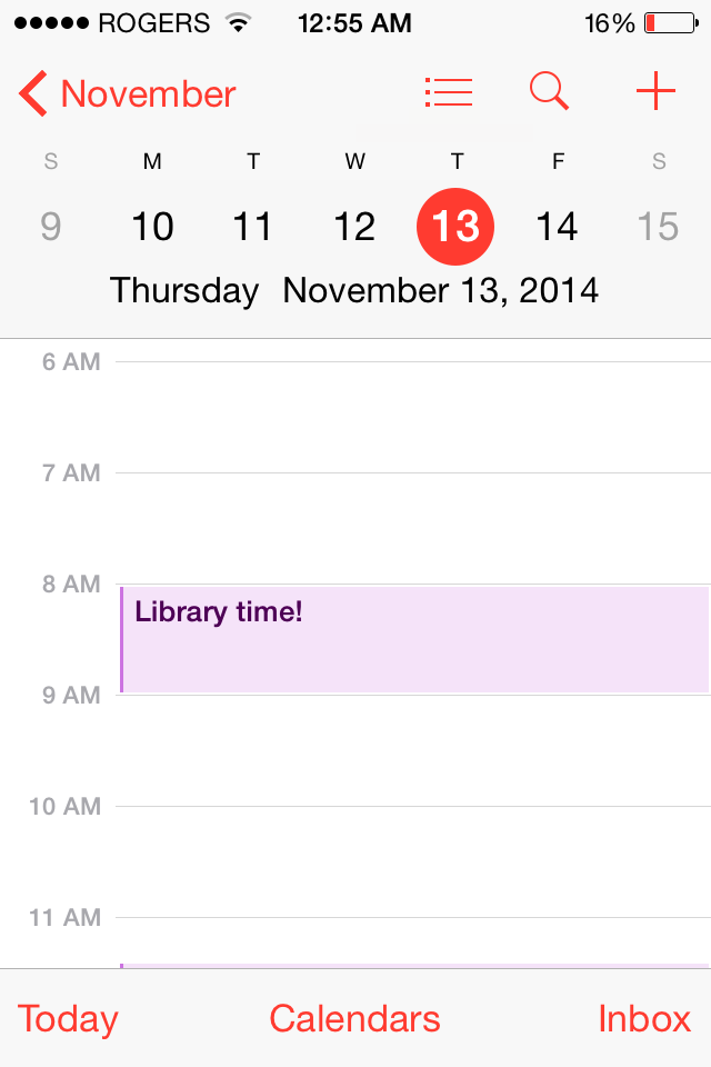 "Phone screenshot of iOS calendar app. Reminder reading ""Library time"""